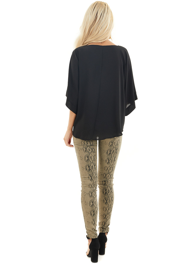 Black Loose Woven Top with Front Tie Detail and 3/4 Sleeves back full body