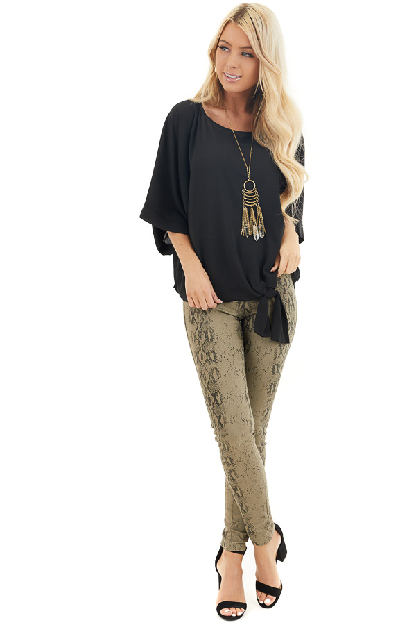 Black Loose Woven Top with Front Tie Detail and 3/4 Sleeves front full body