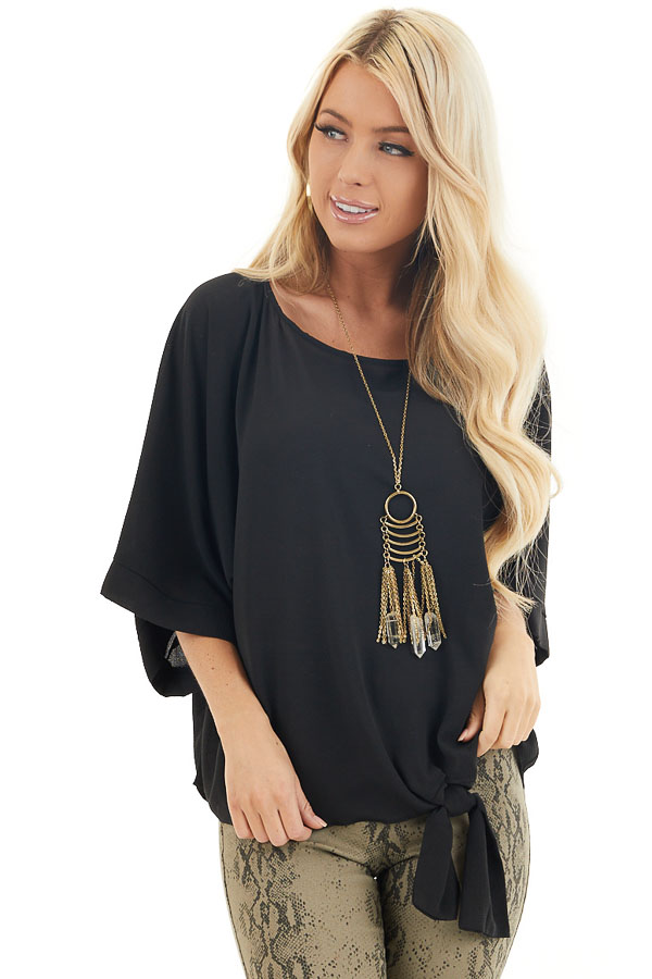 Black Loose Woven Top with Front Tie Detail and 3/4 Sleeves front close up