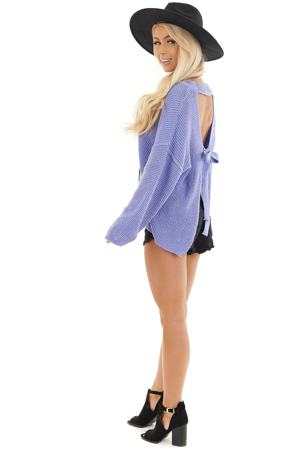 Periwinkle Long Sleeve Sweater with Open Back Tie Detail side full body