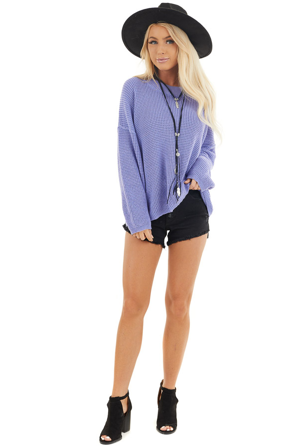 Periwinkle Long Sleeve Sweater with Open Back Tie Detail front full body