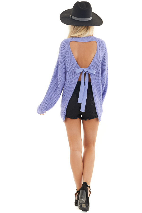Periwinkle Long Sleeve Sweater with Open Back Tie Detail back full body