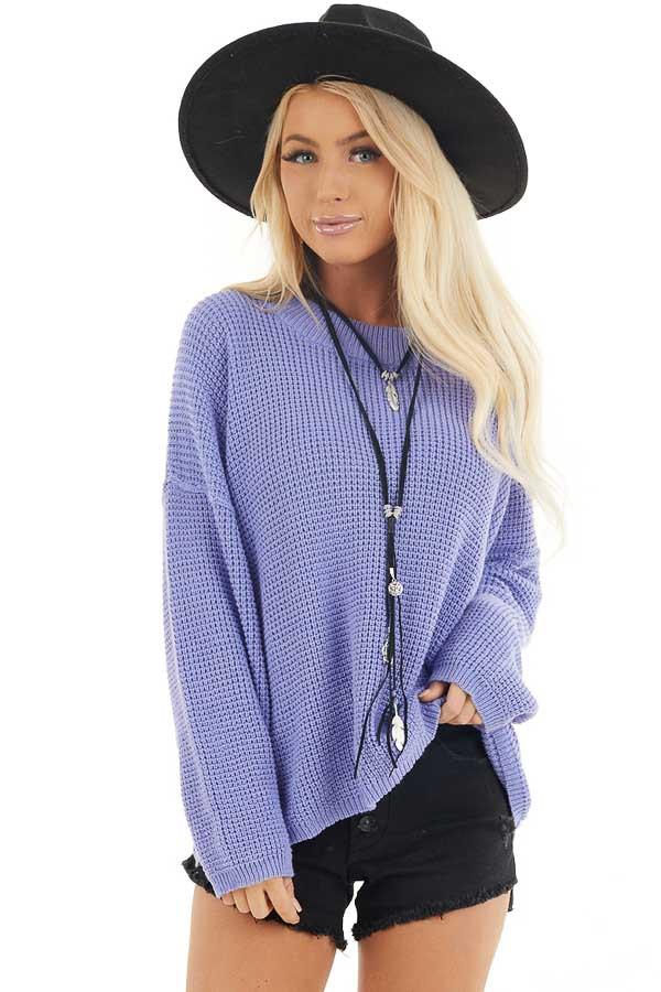 Periwinkle Long Sleeve Sweater with Open Back Tie Detail front close up
