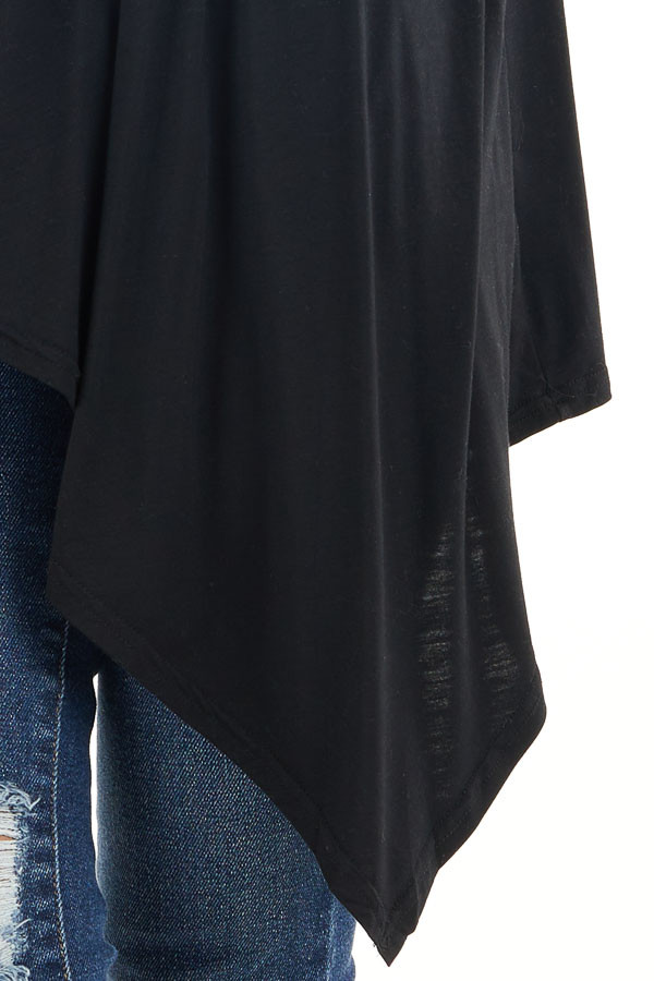 Black Draped Open Front Cardigan with Asymmetrical Hemline detail