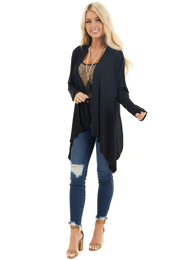 Black Draped Open Front Cardigan with Asymmetrical Hemline front full body