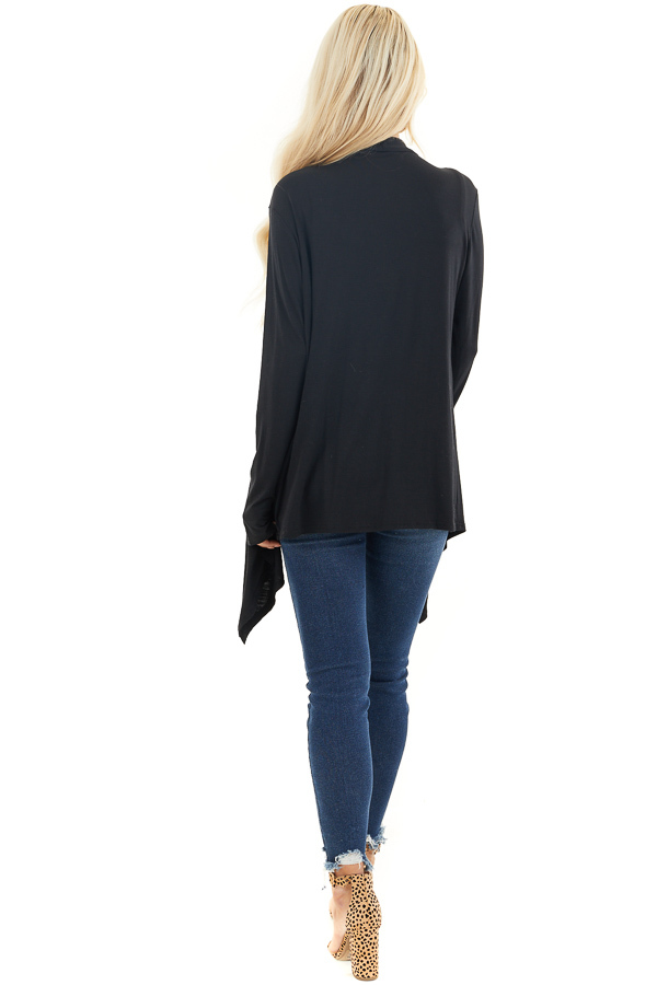 Black Draped Open Front Cardigan with Asymmetrical Hemline back full body