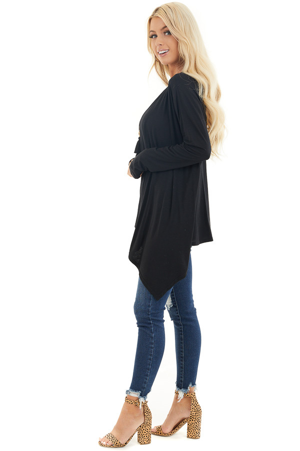 Black Draped Open Front Cardigan with Asymmetrical Hemline side full body