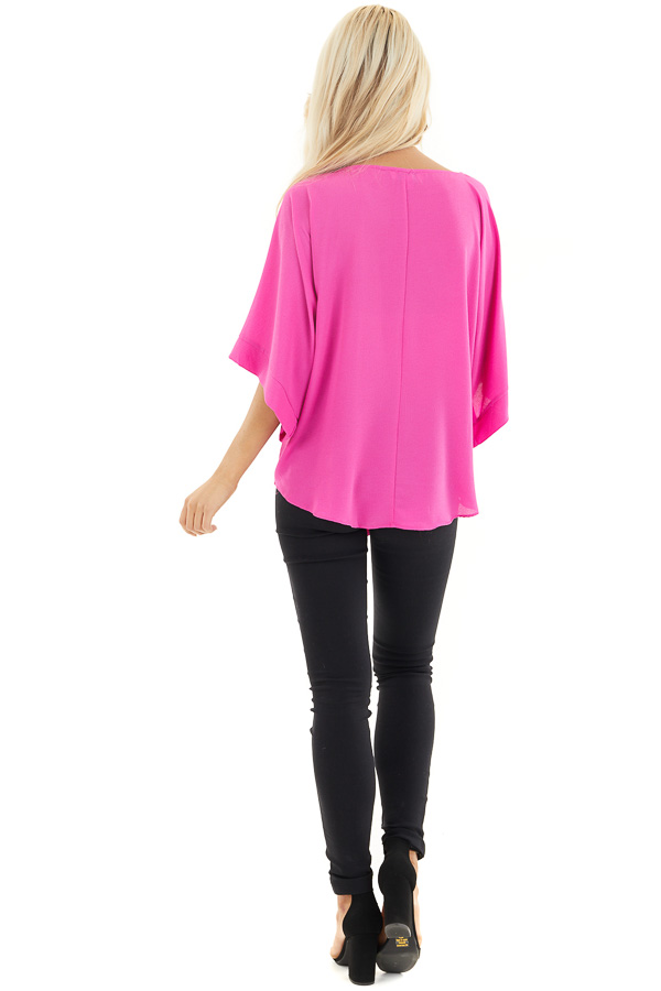 Fuchsia Woven Top with Front Tie Detail and 3/4 Sleeves back full body