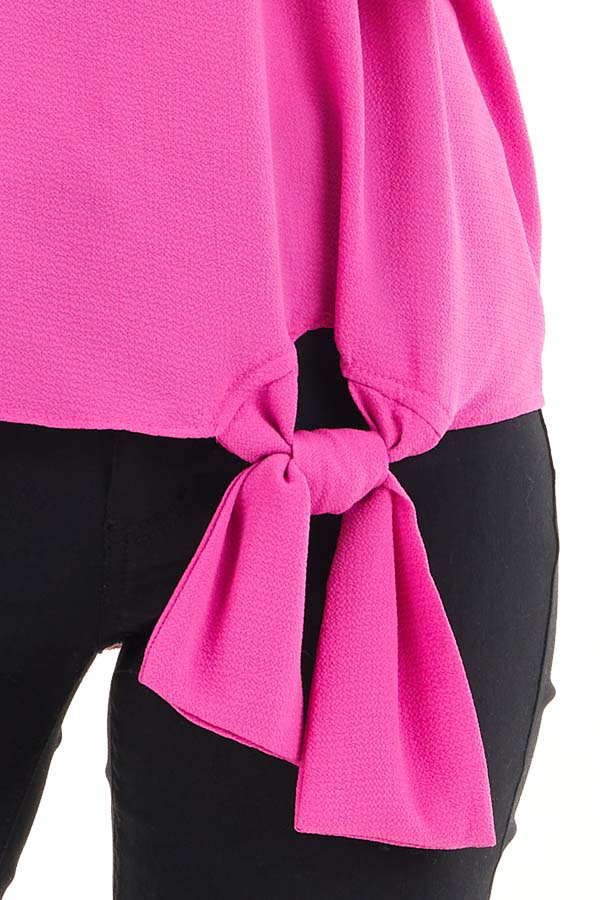 Fuchsia Woven Top with Front Tie Detail and 3/4 Sleeves detail