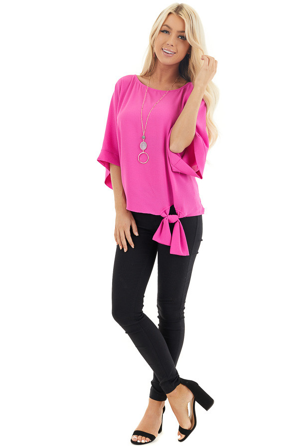 Fuchsia Woven Top with Front Tie Detail and 3/4 Sleeves front full body