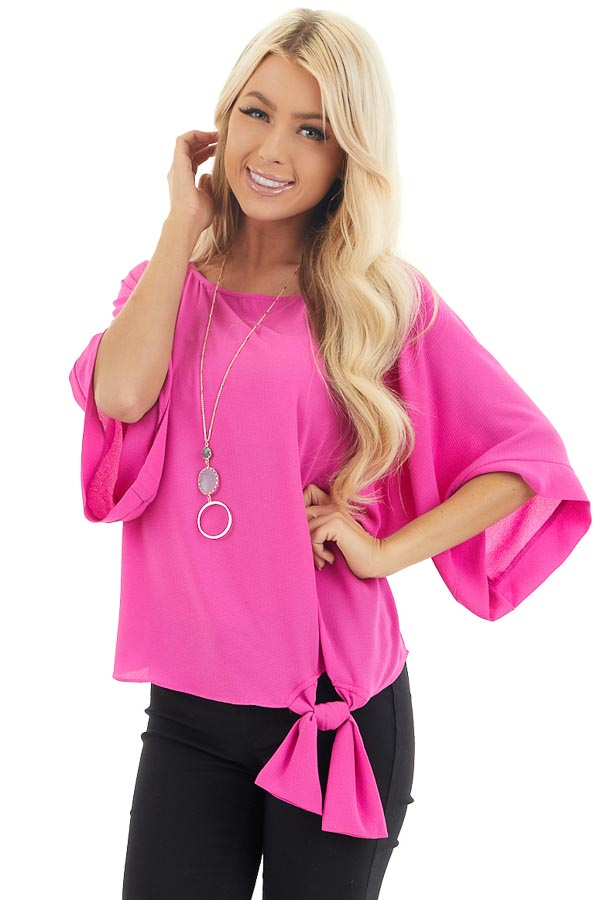 Fuchsia Woven Top with Front Tie Detail and 3/4 Sleeves front close up