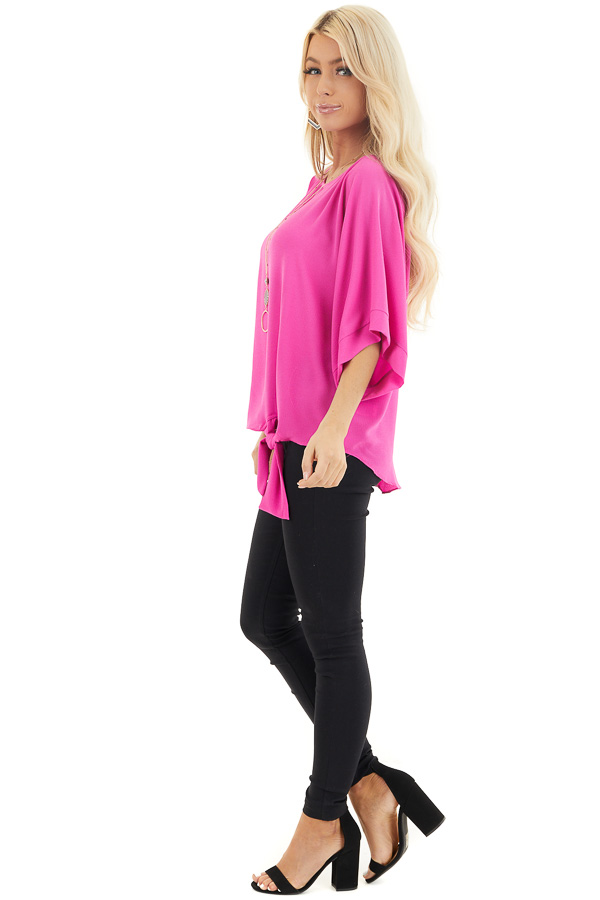 Fuchsia Woven Top with Front Tie Detail and 3/4 Sleeves side full body