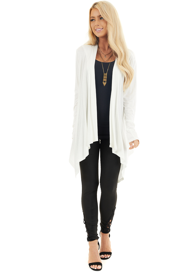 Ivory Draped Open Front Cardigan with Asymmetrical Hemline front full body