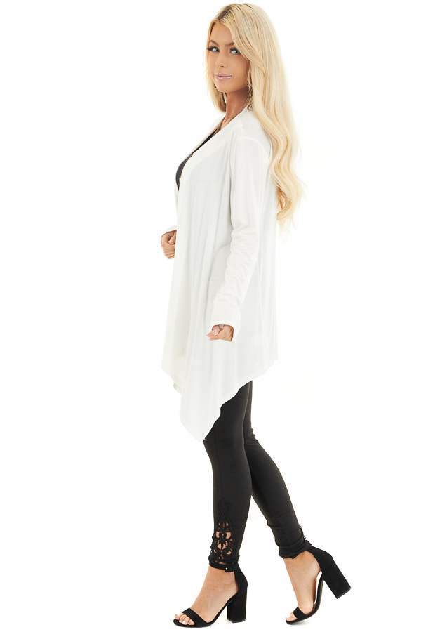 Ivory Draped Open Front Cardigan with Asymmetrical Hemline side full body