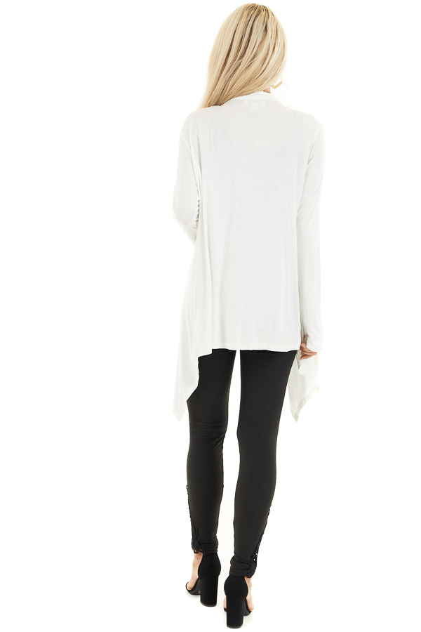 Ivory Draped Open Front Cardigan with Asymmetrical Hemline back full body