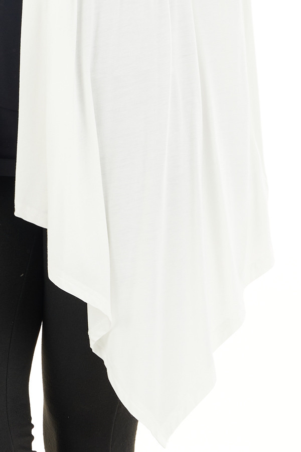 Ivory Draped Open Front Cardigan with Asymmetrical Hemline detail