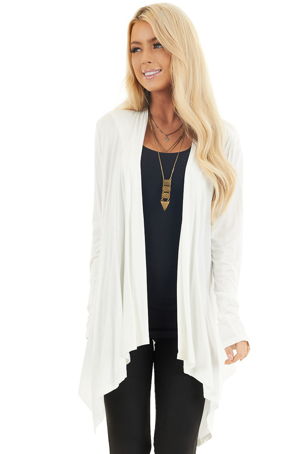 Ivory Draped Open Front Cardigan with Asymmetrical Hemline front close up