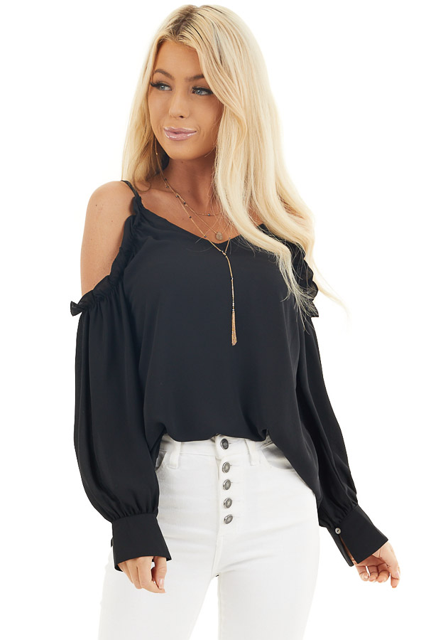 Black Cold Shoulder Long Sleeve Blouse with Ruffle Detail front close up