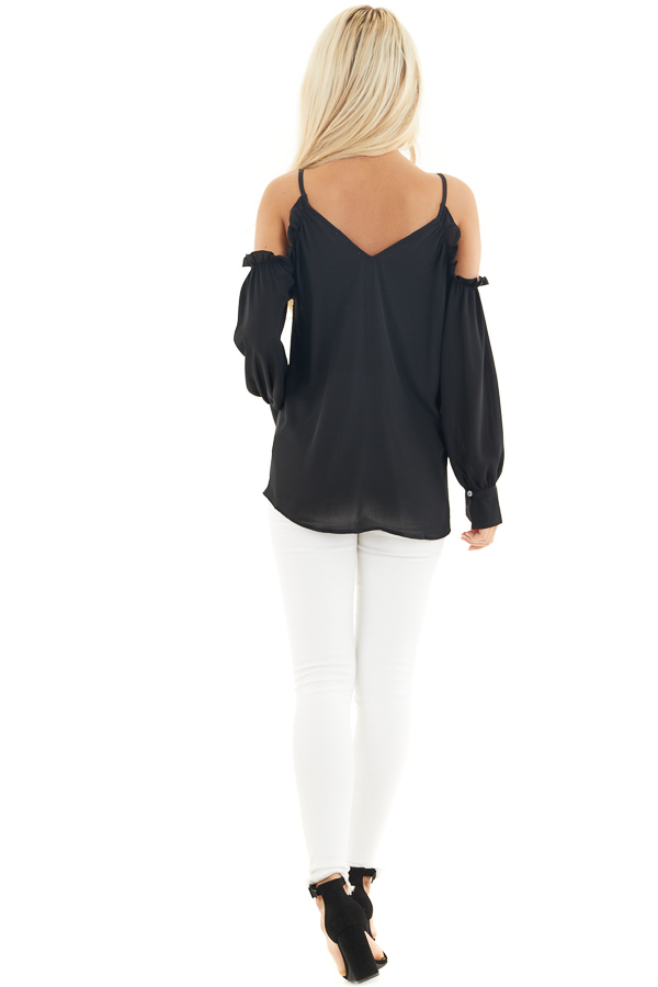 Black Cold Shoulder Long Sleeve Blouse with Ruffle Detail back full body