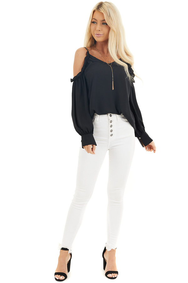 Black Cold Shoulder Long Sleeve Blouse with Ruffle Detail front full body