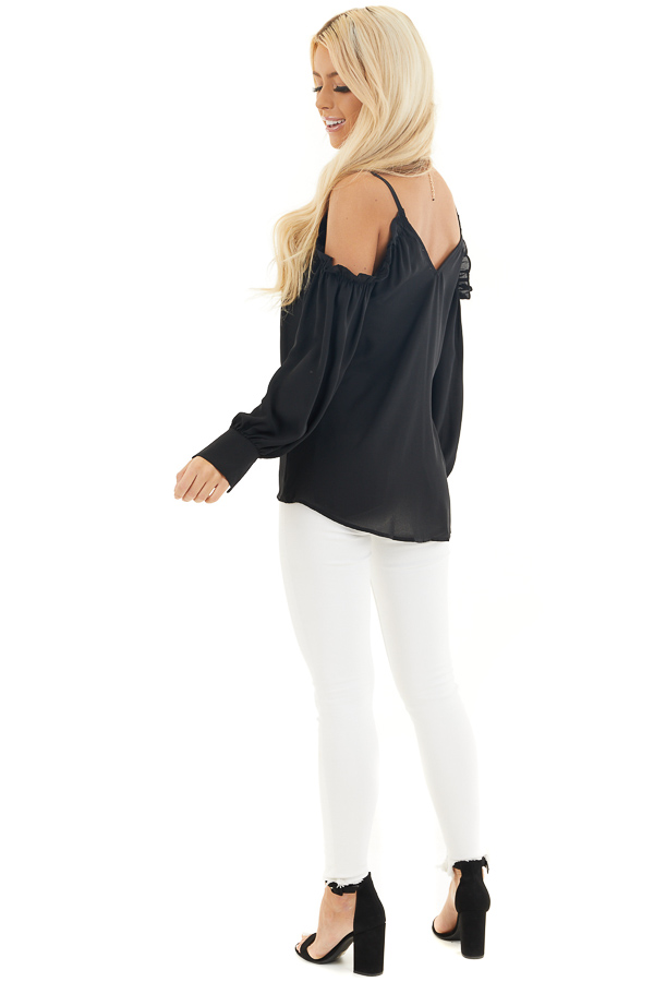 Black Cold Shoulder Long Sleeve Blouse with Ruffle Detail side full body