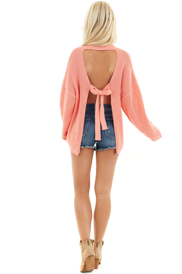 Coral Long Sleeve Sweater with Open Back Tie Detail back full body