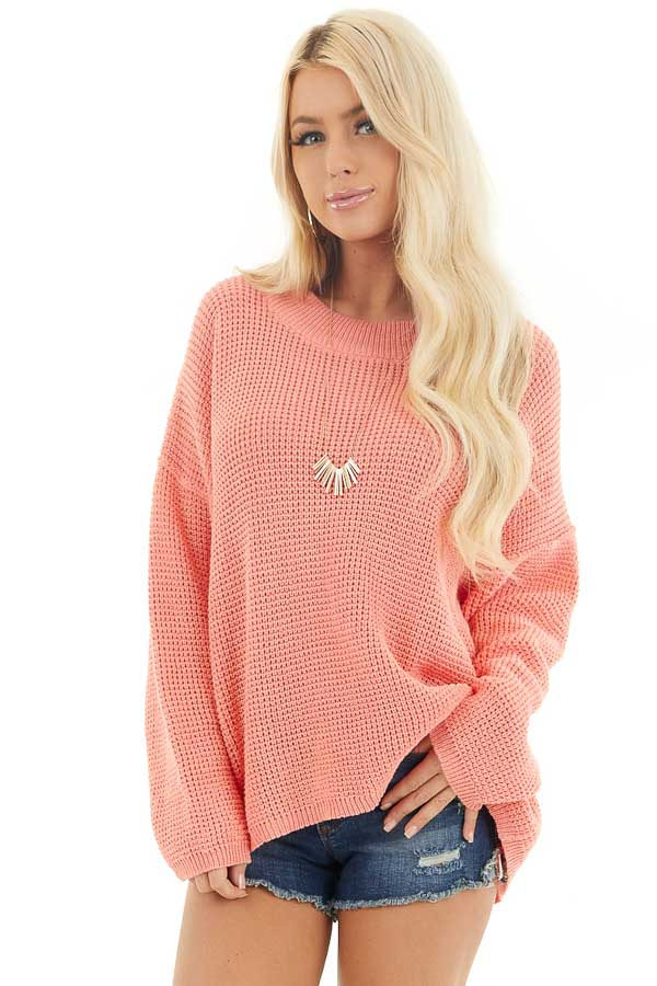 Coral Long Sleeve Sweater with Open Back Tie Detail front close up