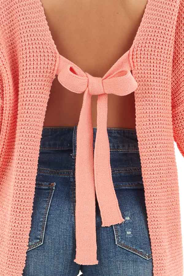 Coral Long Sleeve Sweater with Open Back Tie Detail detail