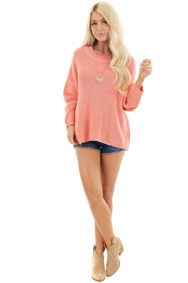 Coral Long Sleeve Sweater with Open Back Tie Detail front full body