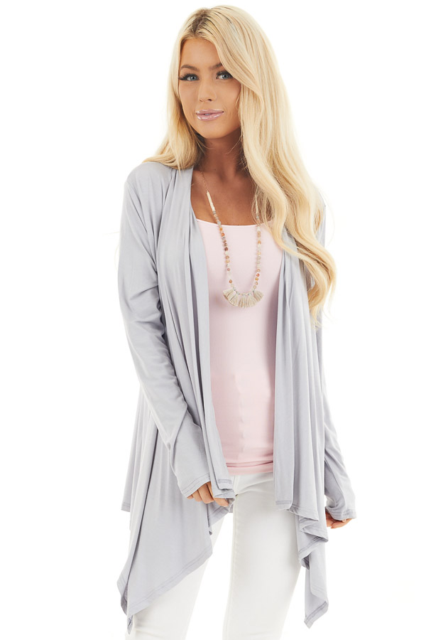 Grey Draped Open Front Cardigan with Asymmetrical Hemline front close up