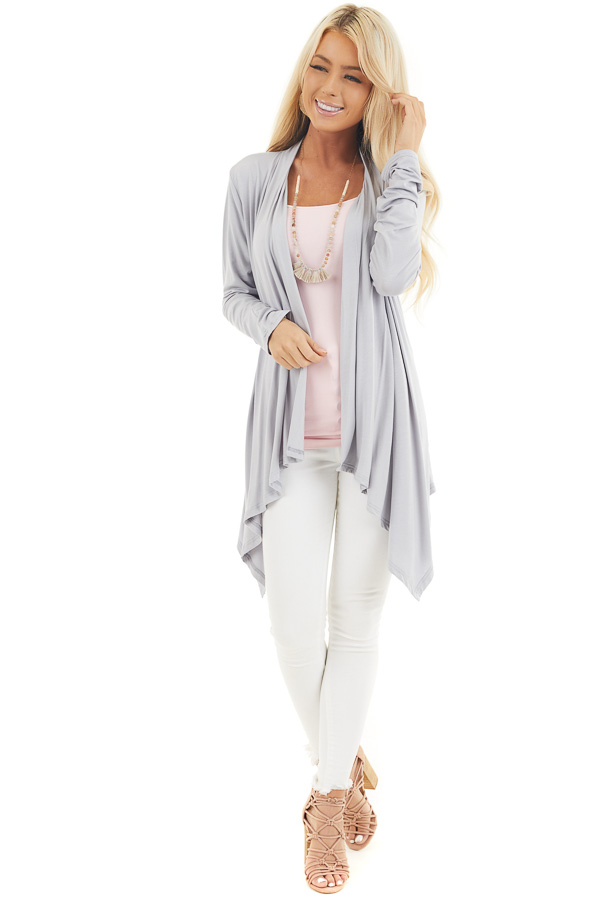 Grey Draped Open Front Cardigan with Asymmetrical Hemline front full body
