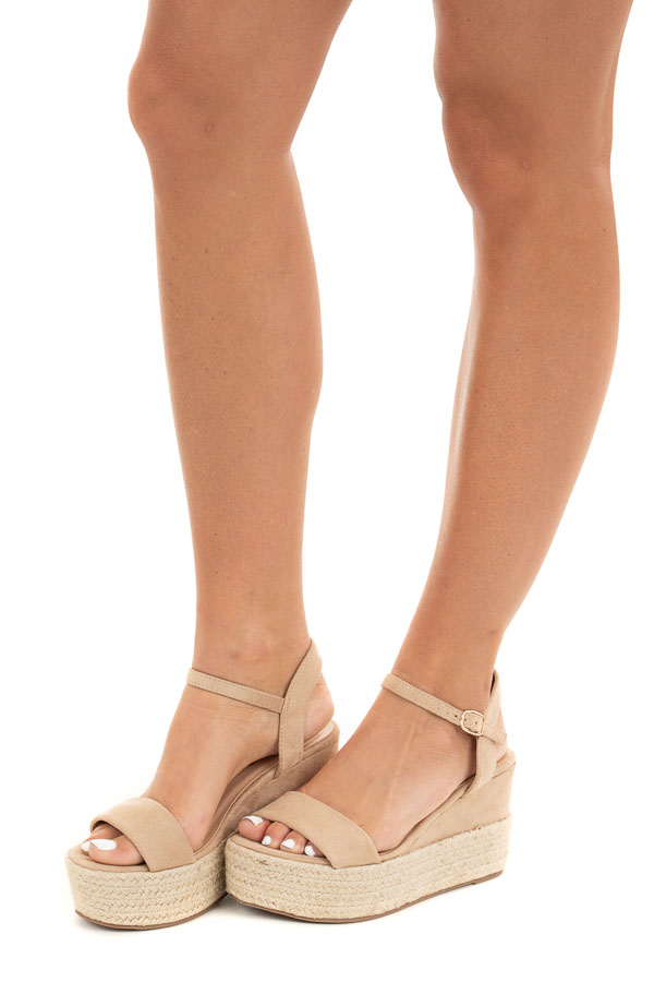 Beige Faux Suede Espadrille Sandals with Ankle Strap side view