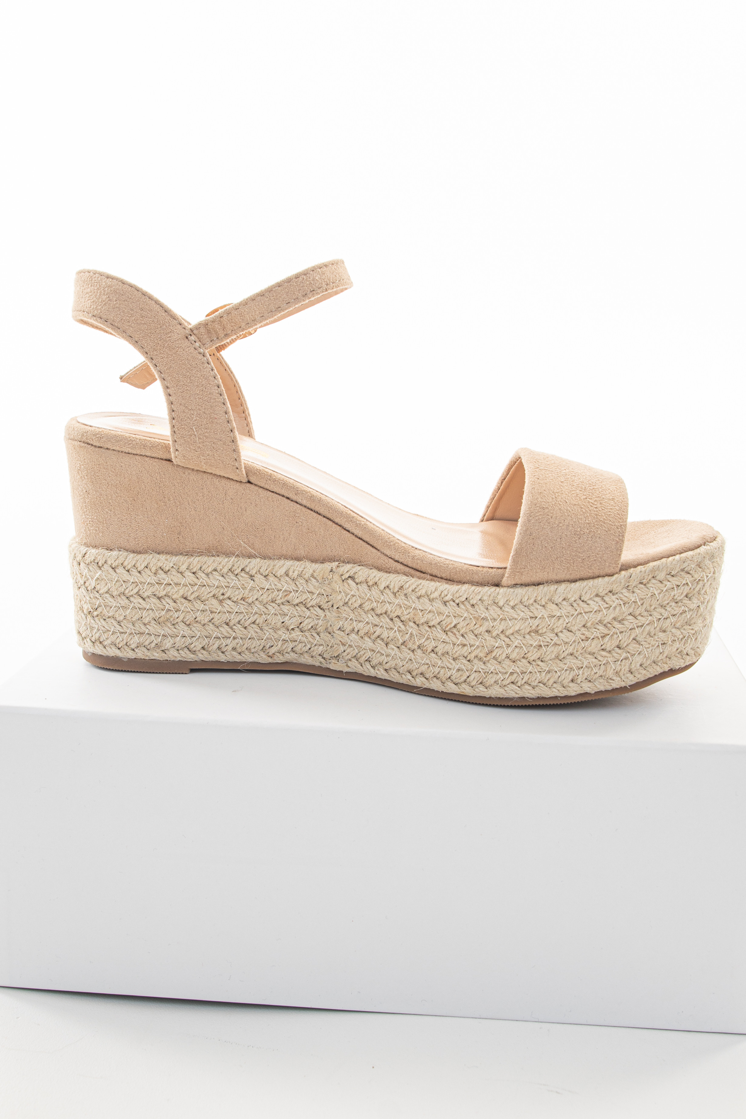 Beige Faux Suede Espadrille Sandals with Ankle Strap
