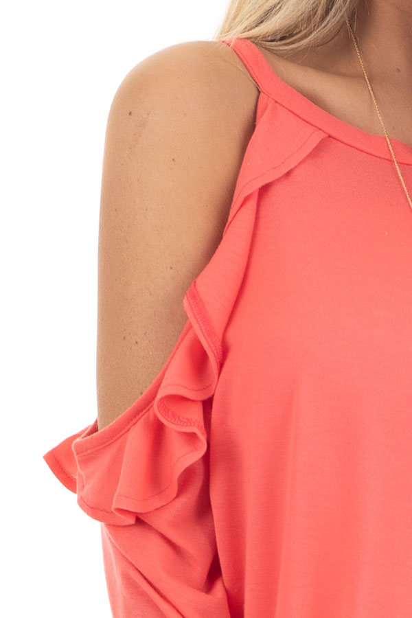 Bright Coral Ruffle Cold Shoulder Knit Top with Long Sleeves detail