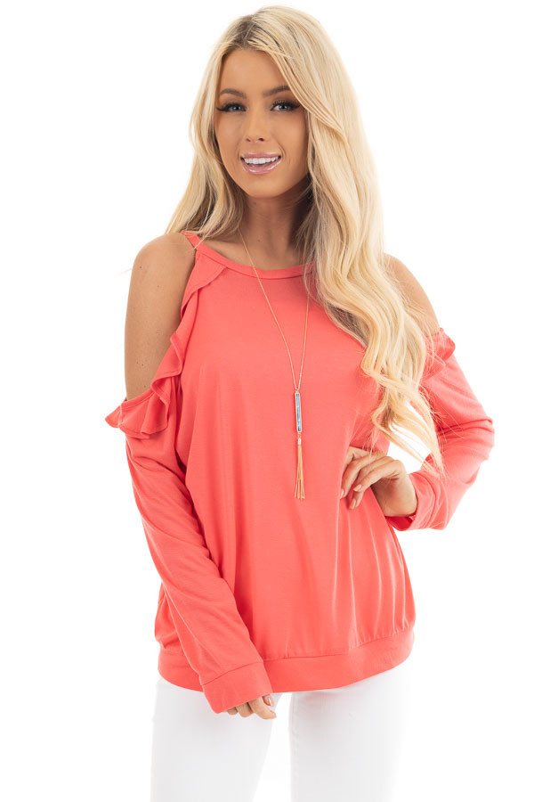 Bright Coral Ruffle Cold Shoulder Knit Top with Long Sleeves front close up
