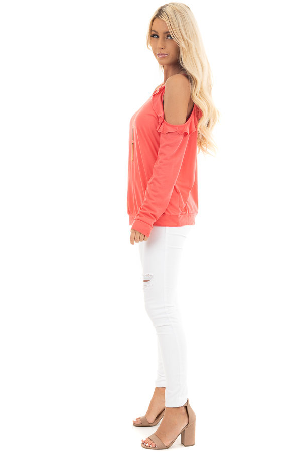 Bright Coral Ruffle Cold Shoulder Knit Top with Long Sleeves side full body