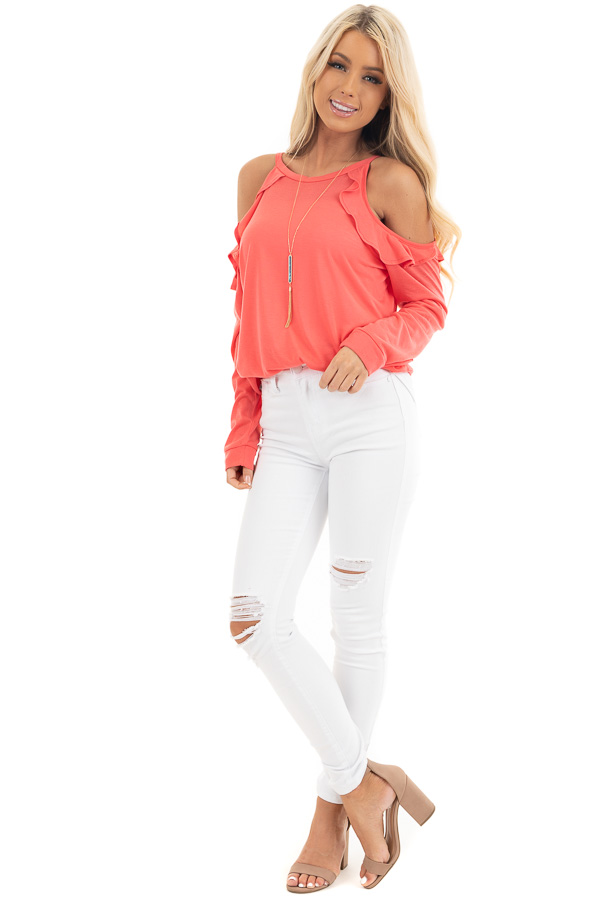 Bright Coral Ruffle Cold Shoulder Knit Top with Long Sleeves front full body