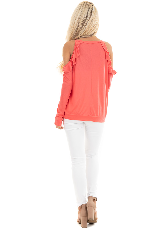 Bright Coral Ruffle Cold Shoulder Knit Top with Long Sleeves back full body