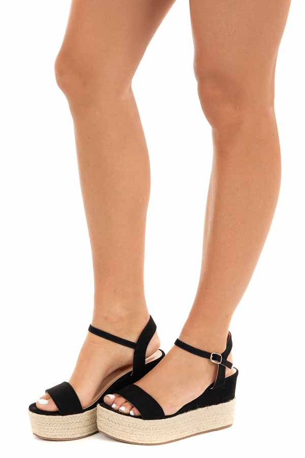Black Faux Suede Espadrille Sandals with Ankle Strap side view