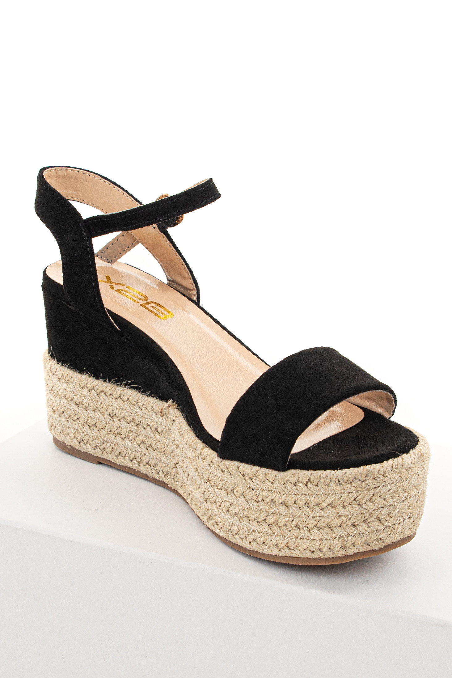 Black Faux Suede Espadrille Sandals with Ankle Strap