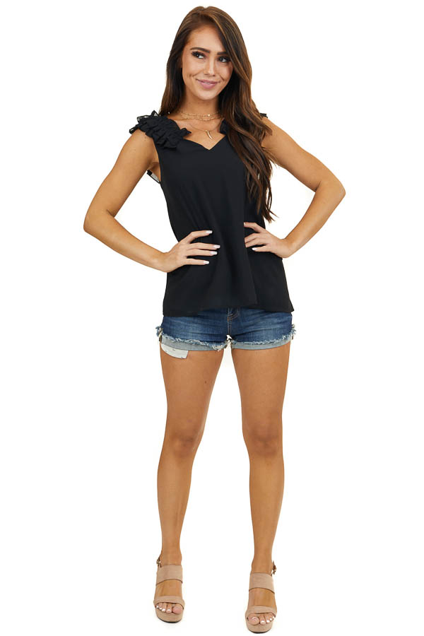 Black Sleeveless Woven Top with Gathered Shoulder Detail