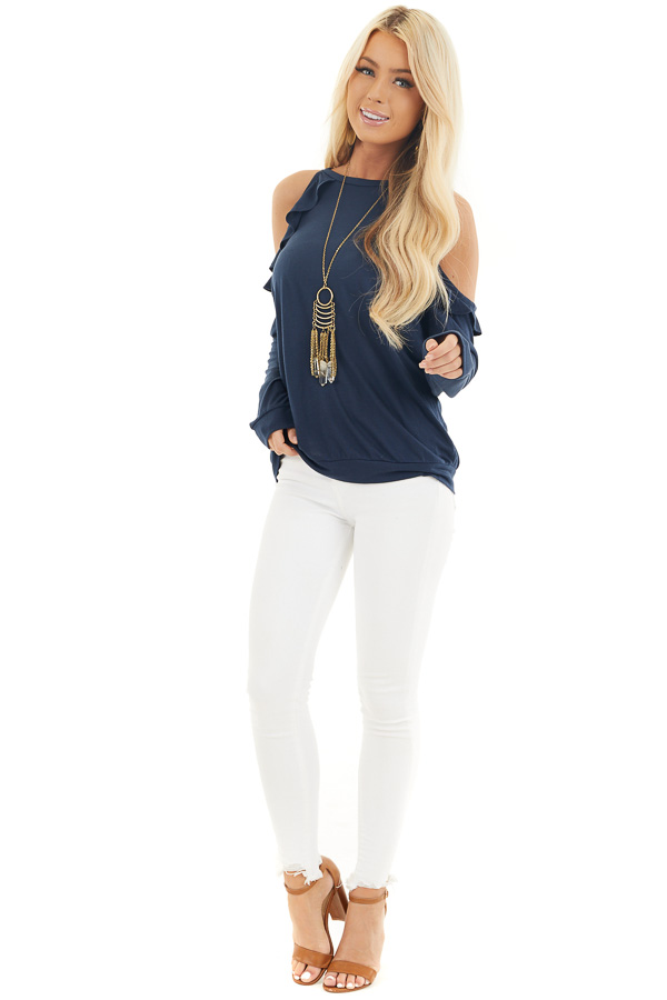 Navy Ruffle Cold Shoulder Knit Top with Long Sleeves front full body