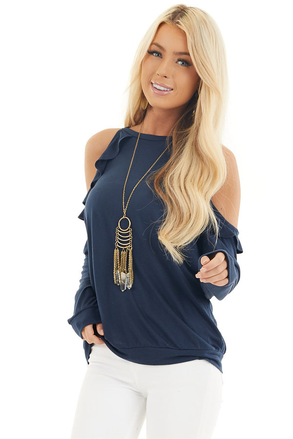 Navy Ruffle Cold Shoulder Knit Top with Long Sleeves front close up