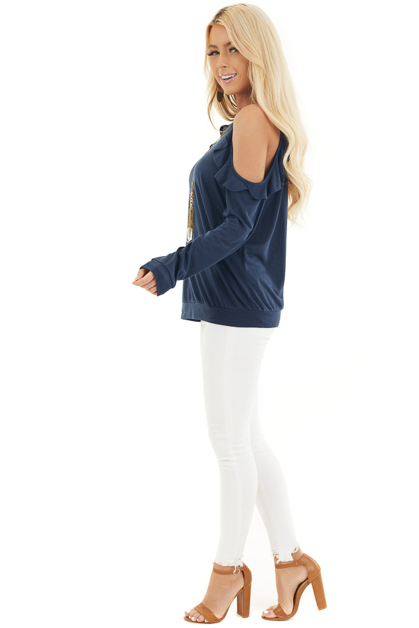 Navy Ruffle Cold Shoulder Knit Top with Long Sleeves side full body