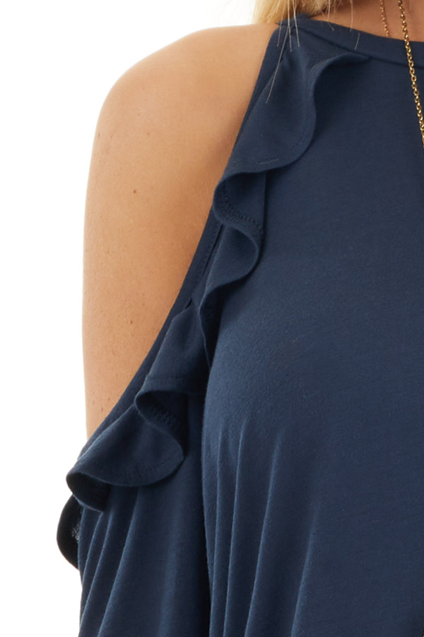 Navy Ruffle Cold Shoulder Knit Top with Long Sleeves detail