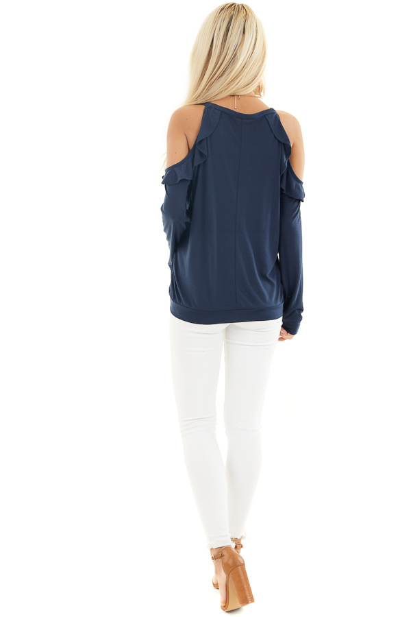 Navy Ruffle Cold Shoulder Knit Top with Long Sleeves back full body