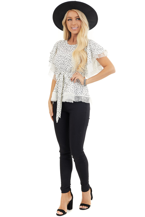 Pure White and Black Printed Peplum Top with Lace Details front full body