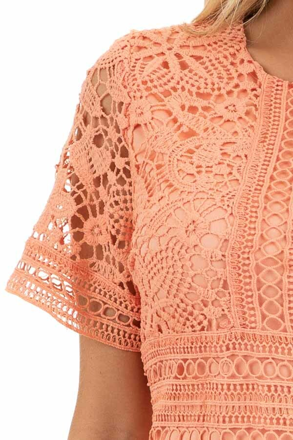 Coral Pink Short Sleeve Crochet Mini Dress detail