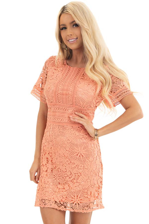 Coral Pink Short Sleeve Crochet Mini Dress front close up