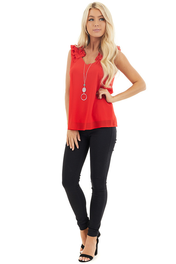 Lipstick Red Sleeveless Top with Gathered Shoulder Details front full body